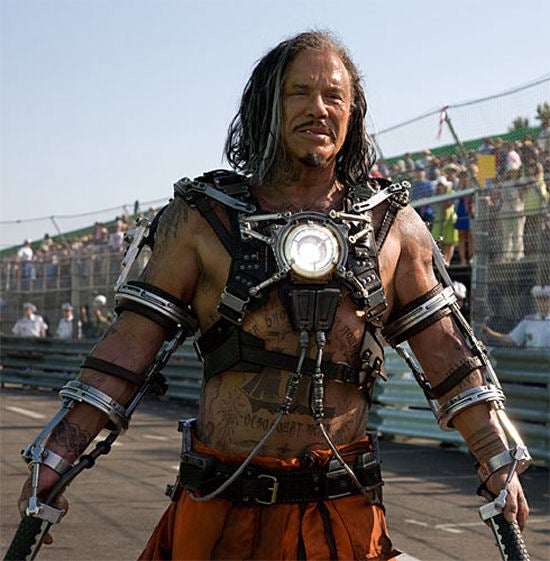 First Look At Mickey Rourke's Iron Man 2 Bondage Harness