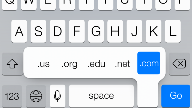 How to Find the Missing .Com Button in iOS 7