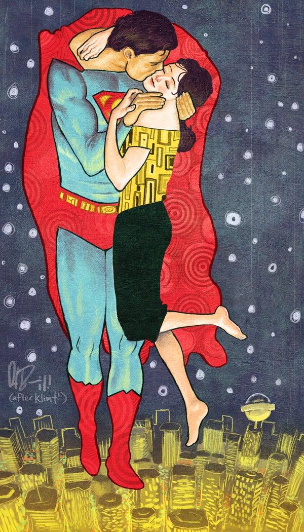 "Superman and Lois Lane reenact Klimt's ""The Kiss"""