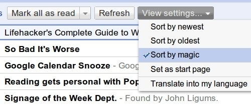 """Google Reader Sorts Feed Items by Personalized """"Magic"""""""