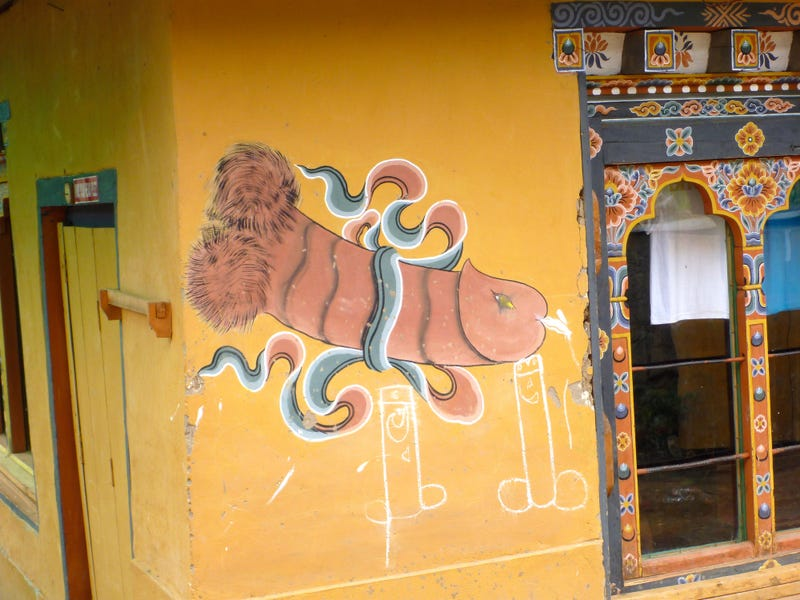 In Bhutan, friendly phalluses painted on houses scare off evil spirits (NSFW)
