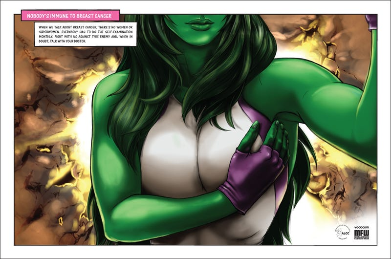 Wonder Woman and She-Hulk give themselves breast exams in Mozambique