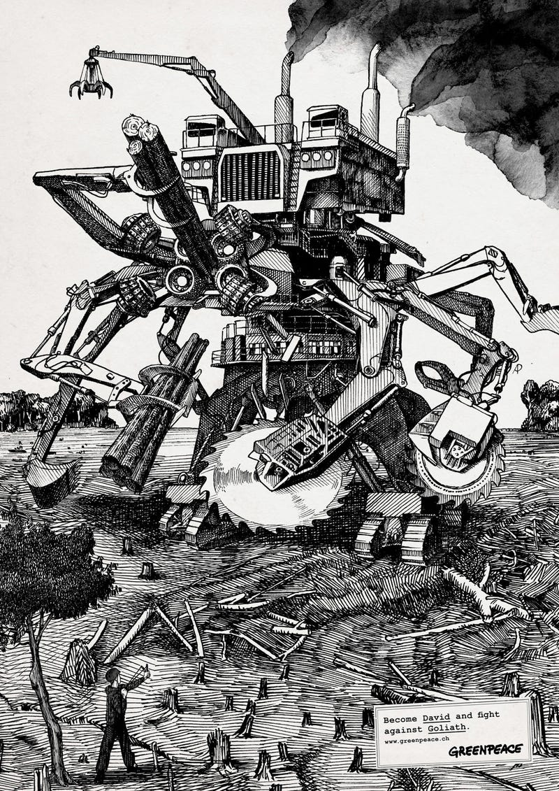 Stylized Greenpeace posters pit David against mecha-monster Goliaths