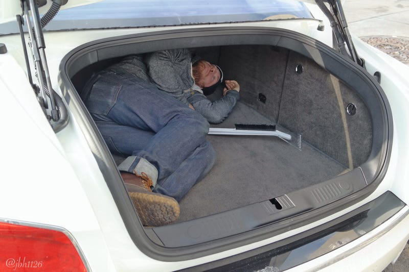 Q: can Ethan fit in the trunk of a 2014 Flying Spur?