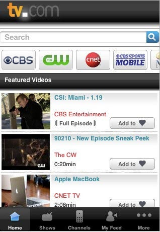 TV.com iPhone App Streams Free Full-Length CBS and Showtime Shows