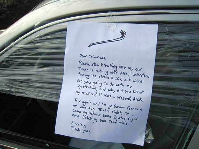 Car Theft Victim Threatens To Brain Crooks, Half-Life-Style