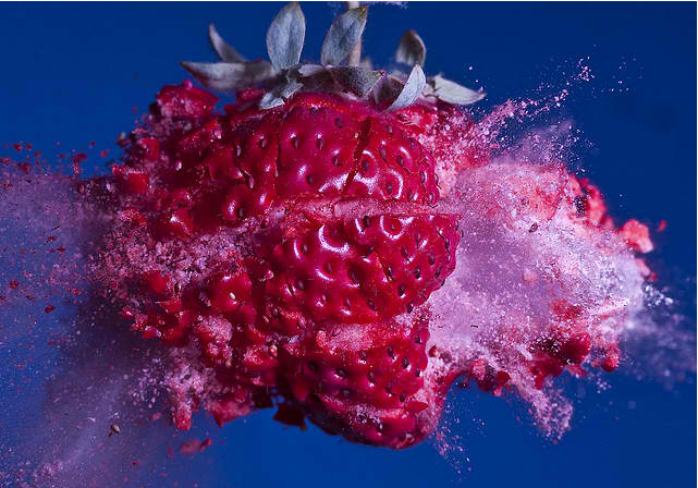 This is what it looks like when a bullet shatters a strawberry