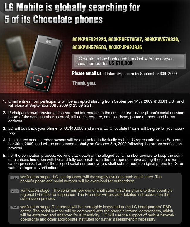 LG Wants To Pay You $10,000 for Your Chocolate Phone