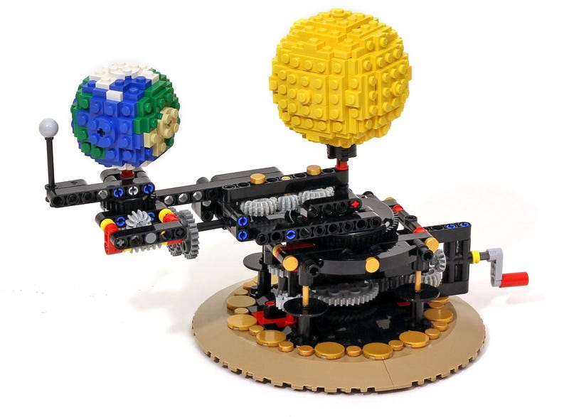 Working lego model of the earth moon and sun is remarkably 97