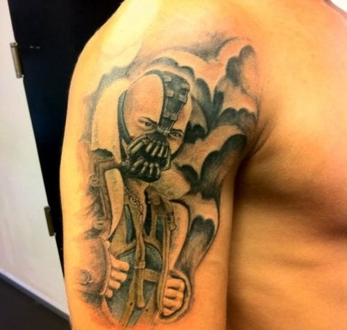 Someone loved the Dark Knight Rises Bane costume enough to get it as a tattoo