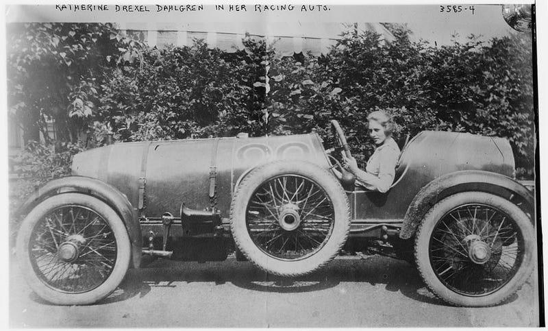 Katherine Drexel Dahlgren In Her Racing Auto, ca. 1910
