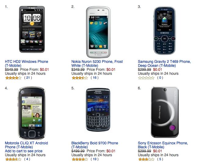 Amazon Offering All T-Mobile Phones For 1 Cent