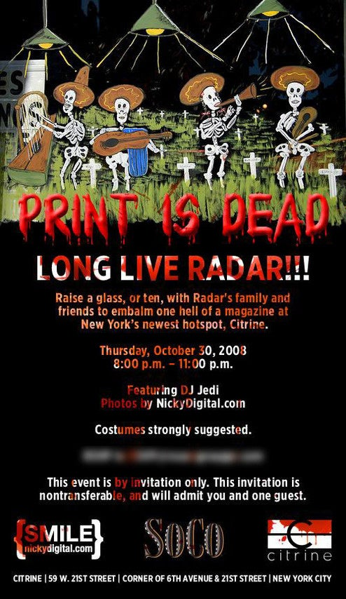 Radar's Last Party Billed as Death-of-Print Extravaganza