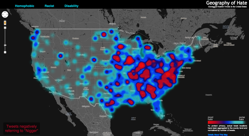 An Interactive Map of Racist, Homophobic and Ableist Tweets in America