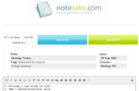 Take Notes Online with NoteSake