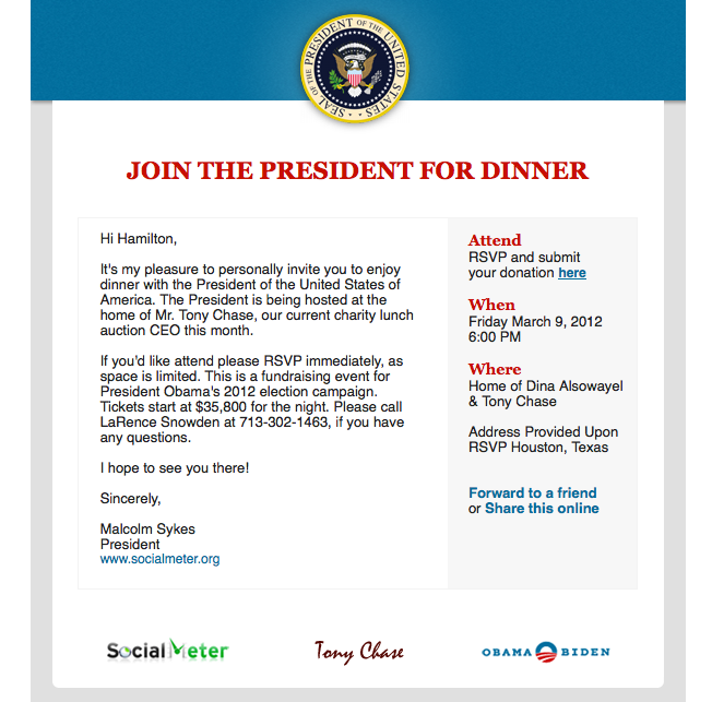 You're Invited to Dine With Barack Obama for $35,800