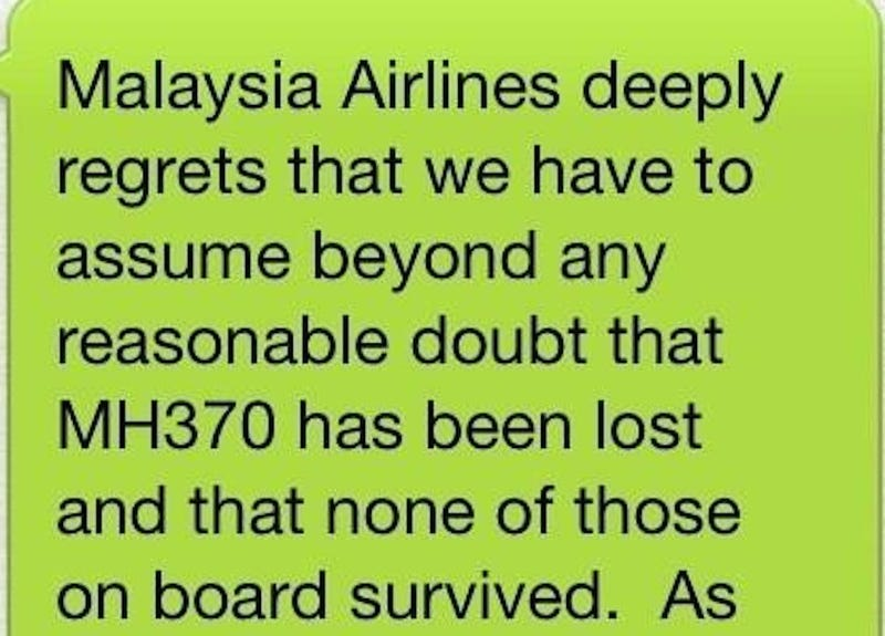 Malaysia Airlines Broke Crash News to Families Via Text