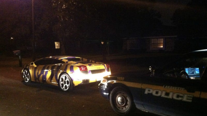 This LSU-Striped Lamborghini Was Pulled Over For Breaking Laws Of Good Taste
