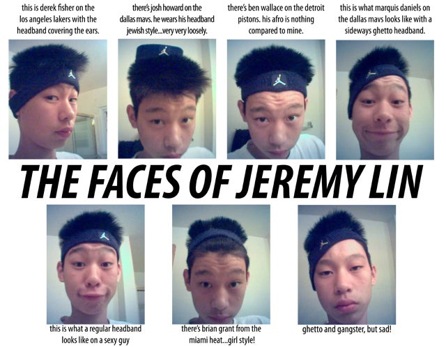 On His Blog, 15-Year-Old Jeremy Lin Imitated The Headband Fashions Of NBA Players, Including Derek Fisher And Ben Wallace