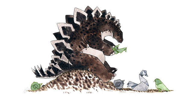 Dinosaurs face new challenges in these beautiful watercolors