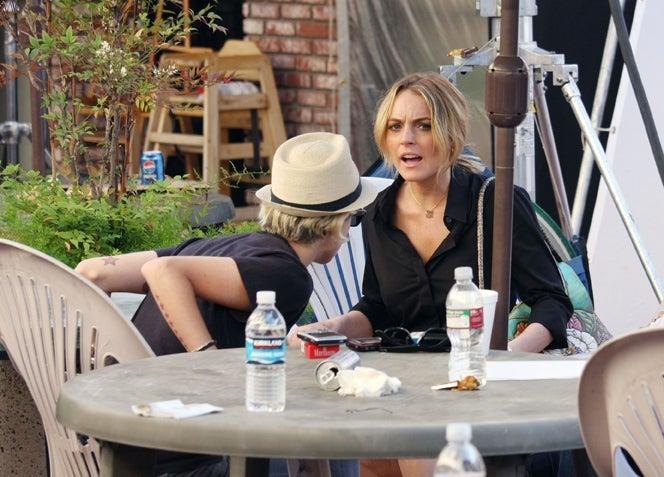 Sam Ronson Sneaks Up On Lindsay Lohan