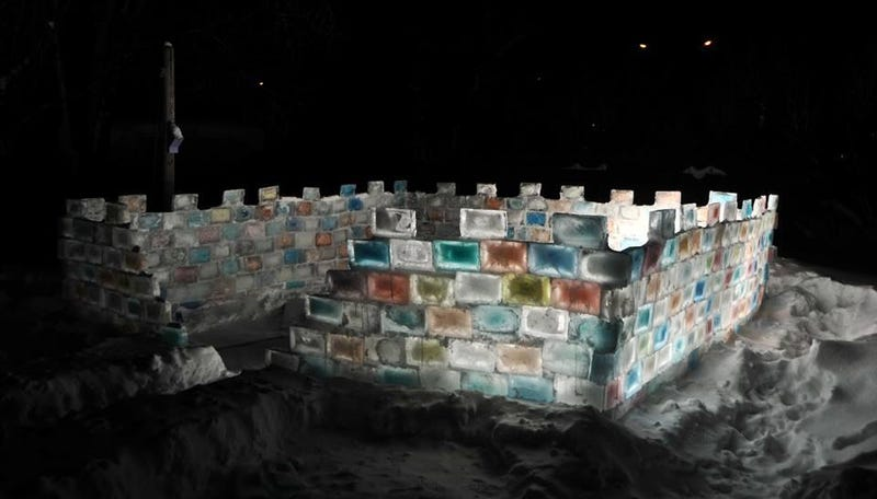 Awesome guy built a colorful ice fortress because winter was coming