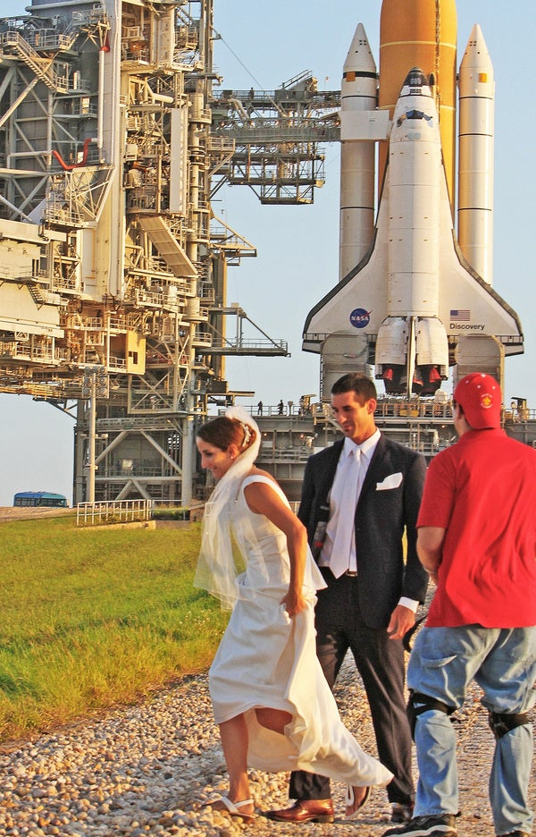 Love and Wedding Pictures Right Next to the Space Shuttle