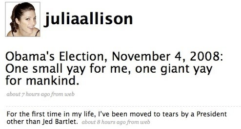 OMG Weeping Tears of Joy: Election-Night Overshares