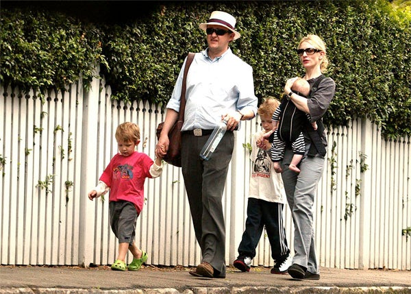 Cate Blanchett & Boys Set Out On A Springtime Stroll