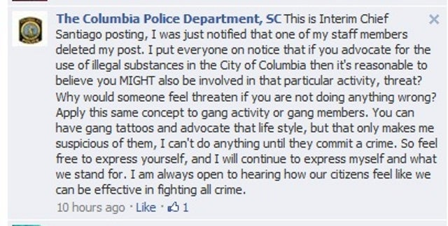Police Chief Theatens Citizen with Arrest for Facebook Complaint