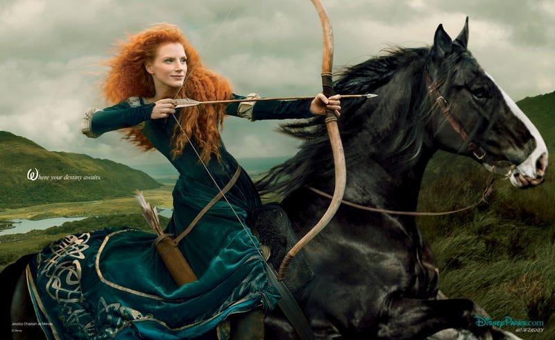 Jessica Chastain transforms into Brave's Princess Merida