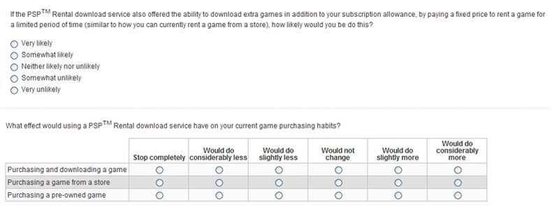 This Is A PSP Survey On Download Rental Services