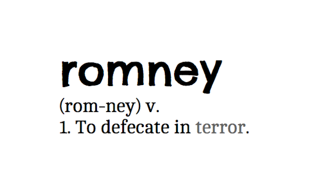 Internet Jokesters Redefine 'Romney' To Mean 'Shitting Oneself in Terror'