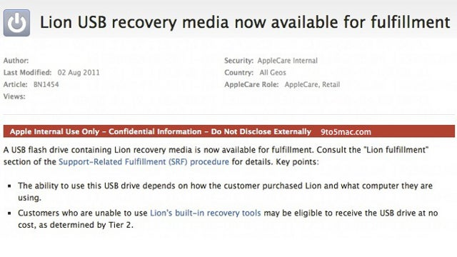 Mac OS X Lion USB Installation Drives Now Available from Apple for $69