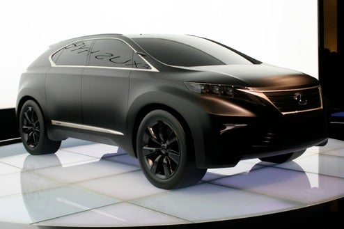 lexus lf xh concept hits paris show floor in matte black. Black Bedroom Furniture Sets. Home Design Ideas