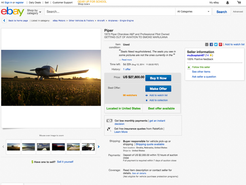 Pilot Selling Plane To Smoke Pot In Greatest Ebay Listing Ever