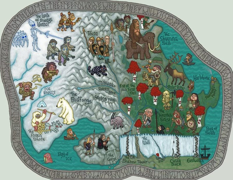 Here there be White Walkers in stylized Game of Thrones maps