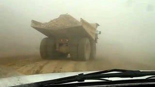 Snap oversteer in a 300 ton dump truck...