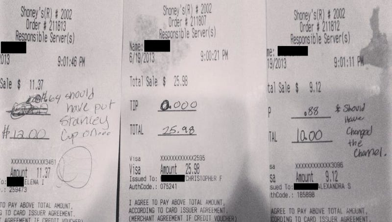 Vindictive Hockey Fans Stiff Shoney's Employee On Tips