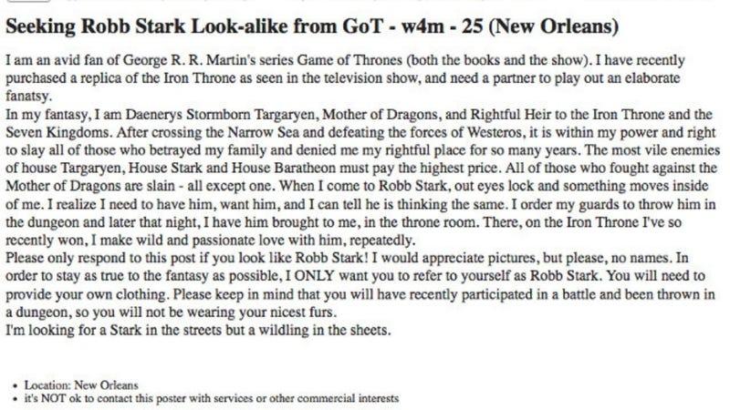 Craigslist Khaleesi Seeks Robb Stark To Bang On Iron Throne