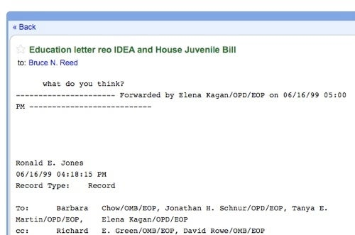 Read Elena Kagan's Boring '90s Emails In Fake Gmail Form