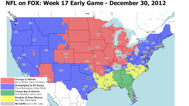 Which TV Market Is Getting Screwed This Sunday? An Analysis Of Week 17 NFL Viewing Maps