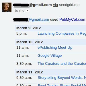 PubMyCal Sends Readable Google Calendar Itineraries by Email