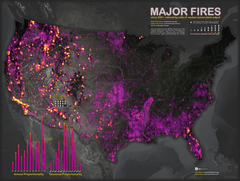 Map Reveals That Wildfires Release As Much Energy As Nuclear Power Plants