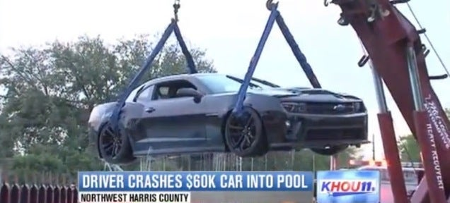 Camaro Driver Discovers Purpose Of Traction Control When He Hits Pool