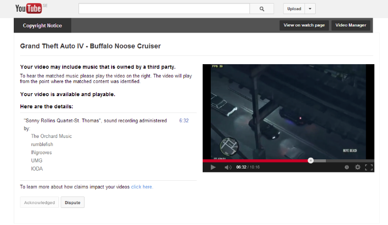 Clueless YouTube Copyright Bots Think GTA Sirens Are a Famous Jazz Song