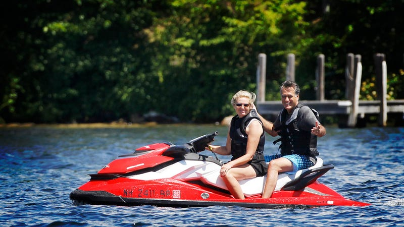 Mitt Romney Can't Believe His Luck That Ann Is Driving Him Around on a Jet Ski