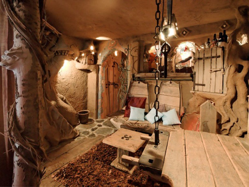 This fantasy-themed bed and breakfast lets you sleep inside a Trojan bull
