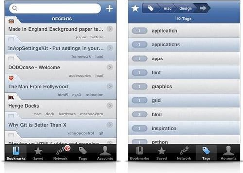 Delibar App Syncs Delicious and Pinboard's Bookmarking Services for iPhone
