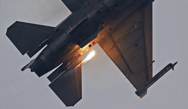 The exact moment a flare is ejected from an F-16